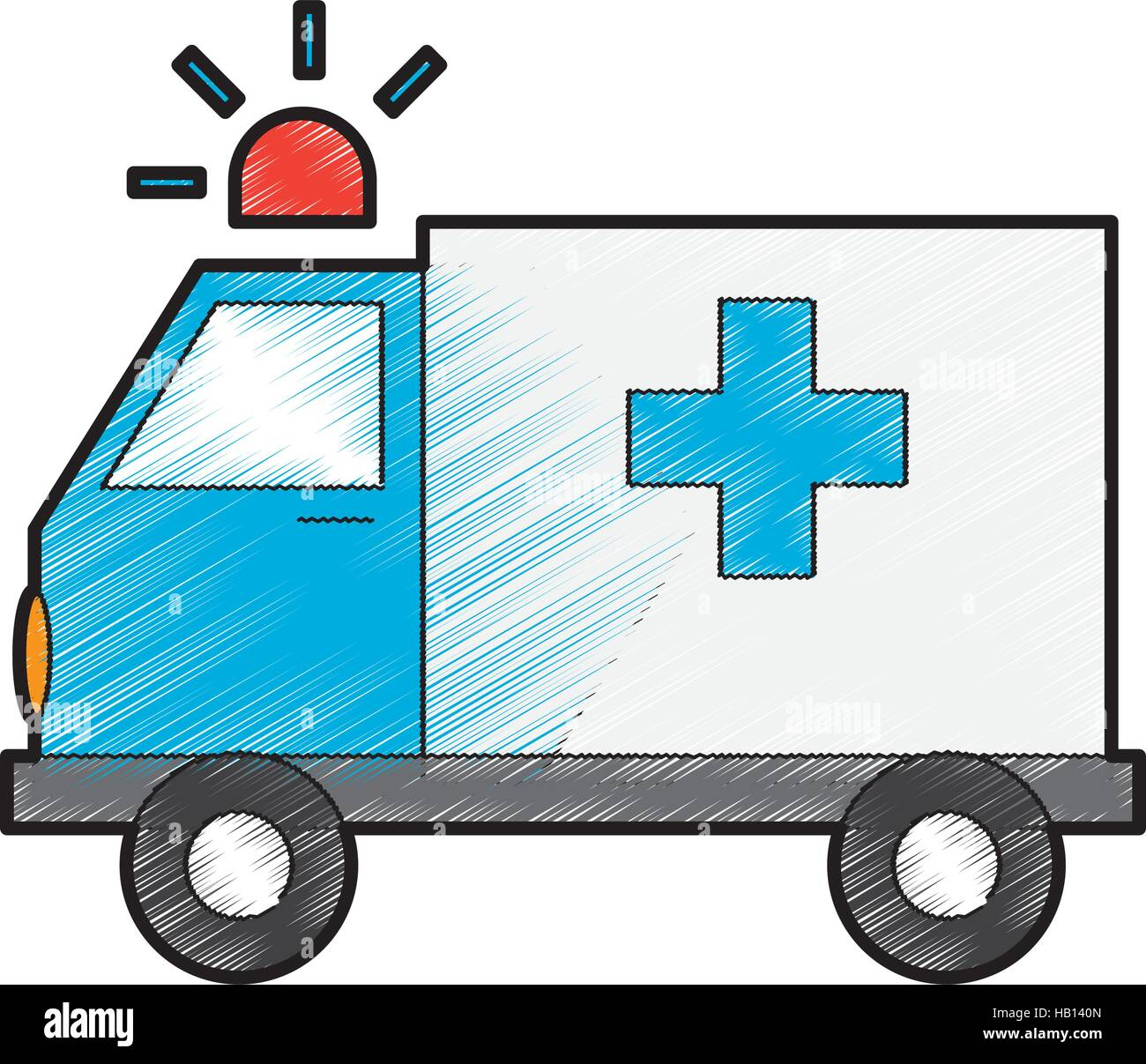 ambulance vehicle icon over white background. draw and sketch design ...