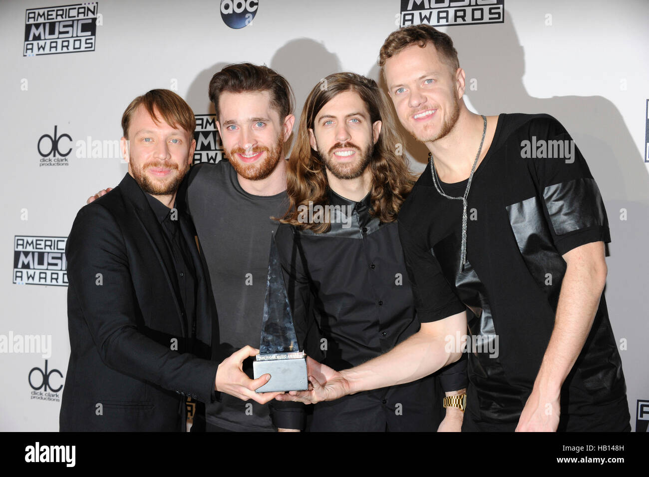 Imagine Dragons attends the press room for the American Music Awards at Nokia Theatre L.A. Live on November 23, - Stock Image