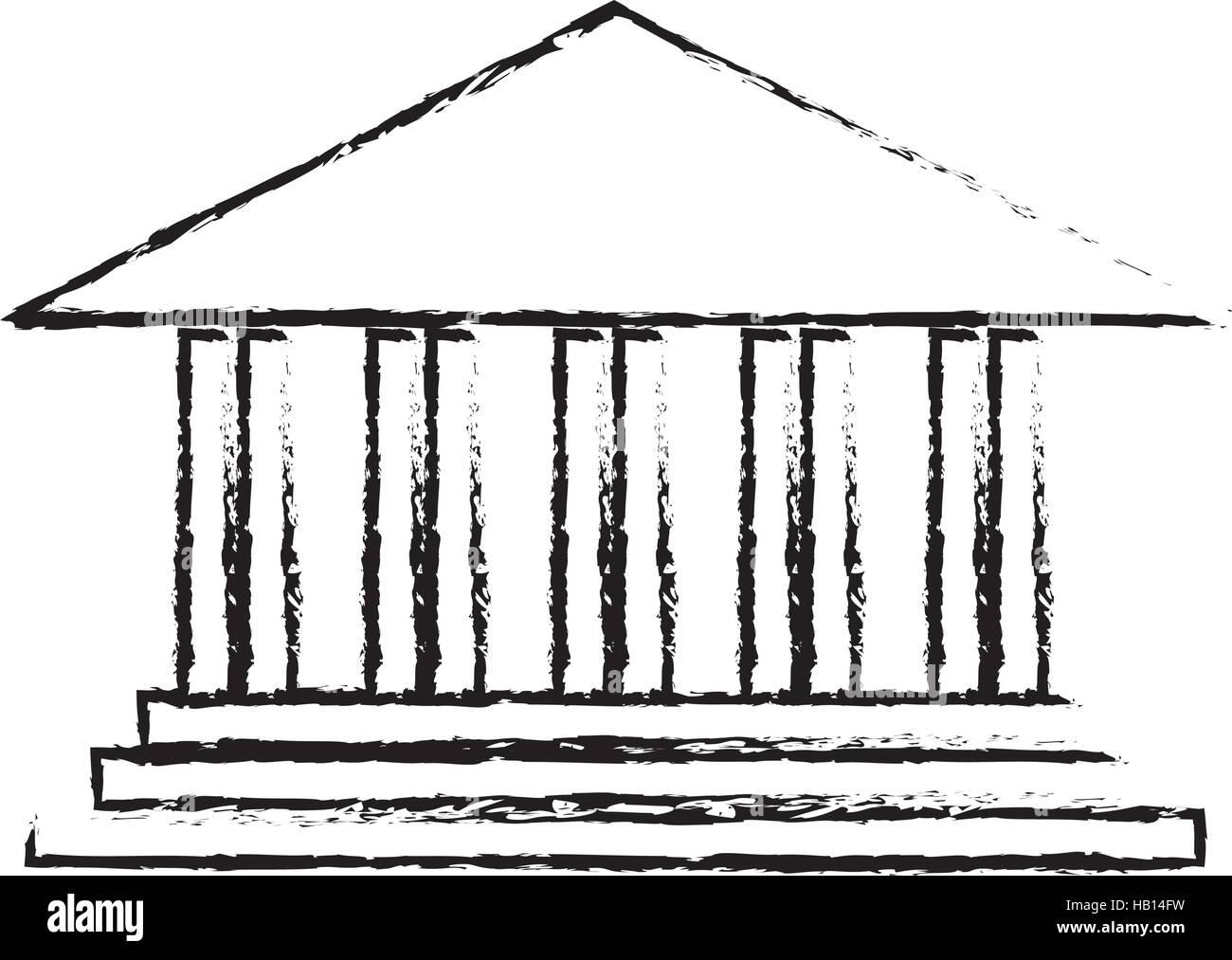 ancient greek building icon image vector illustration design - Stock Vector