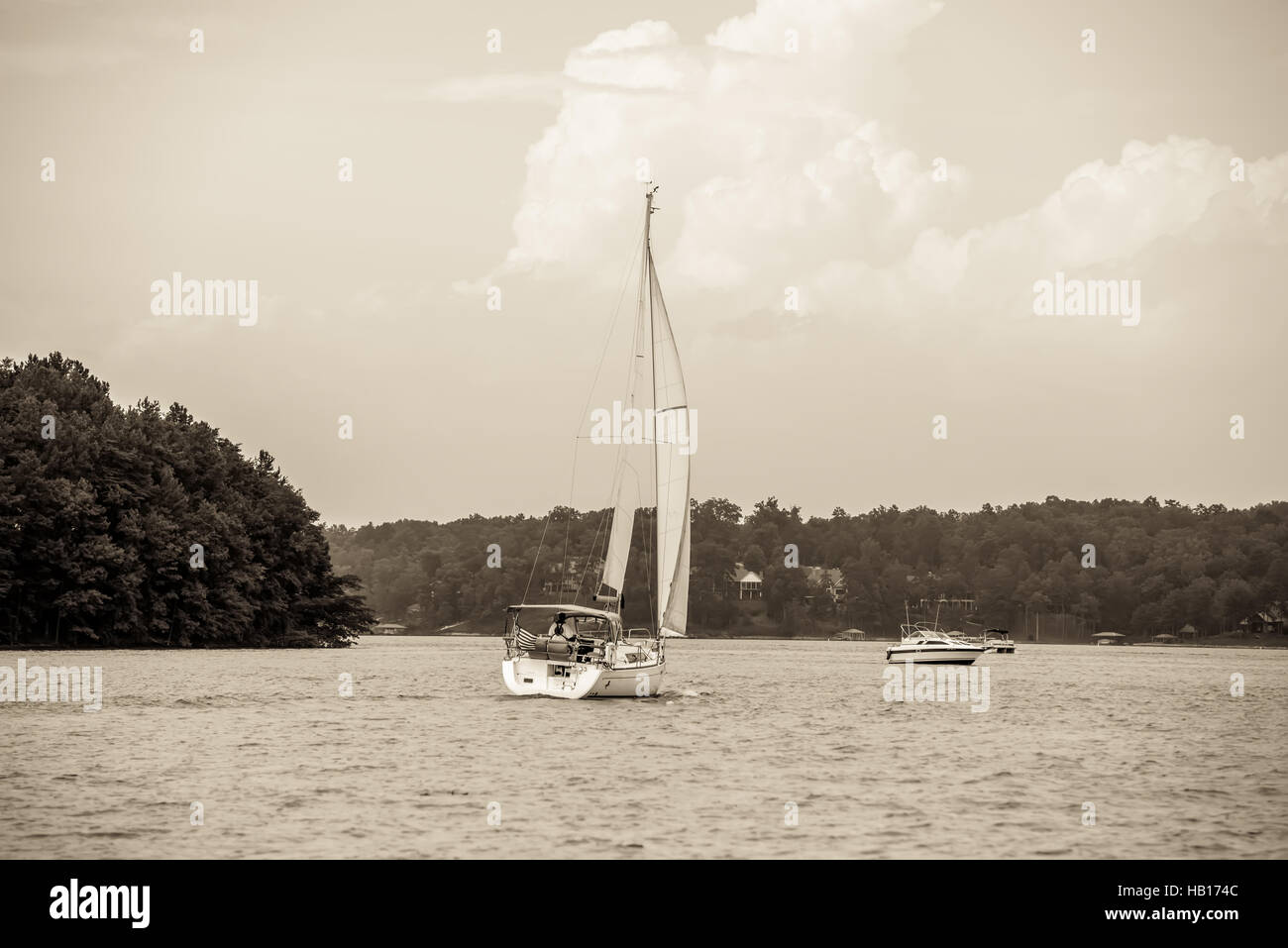 relaxing on lake keowee in sout carolina - Stock Image