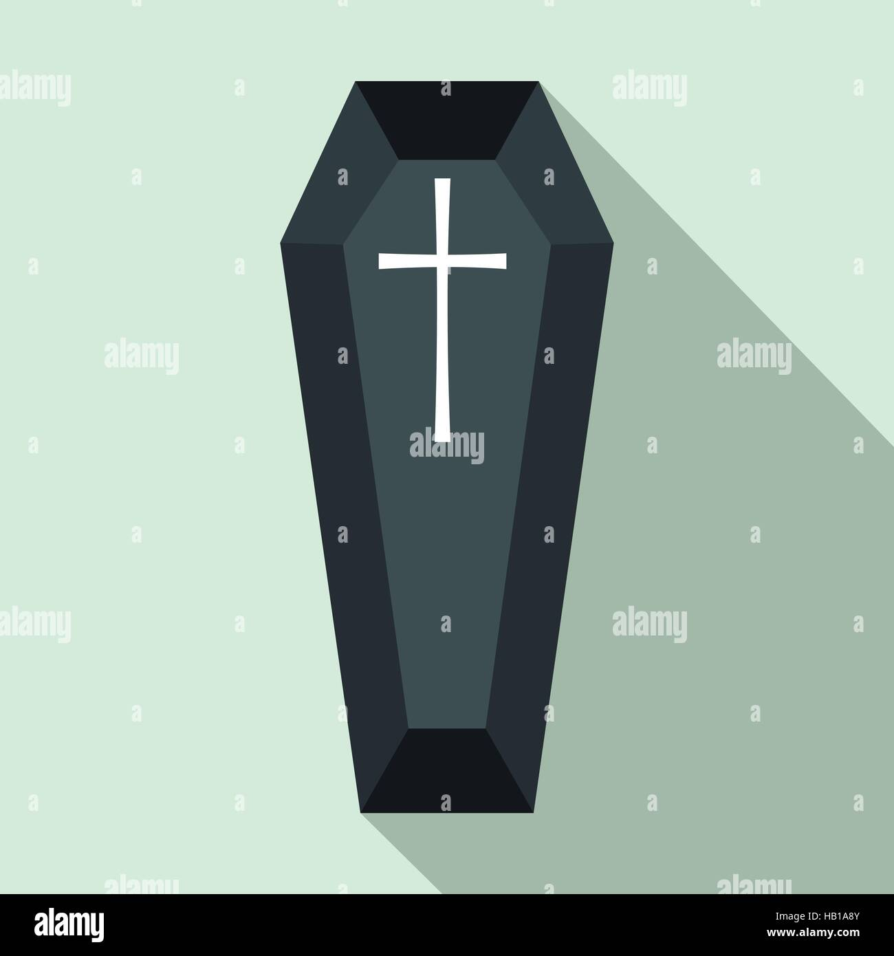 Black classical coffin flat icon - Stock Image