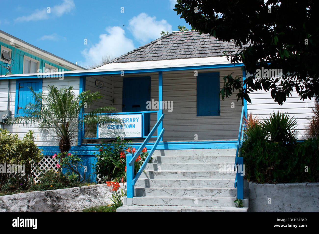 The library in Georgetown, Great Exuma, The Bahamas Stock