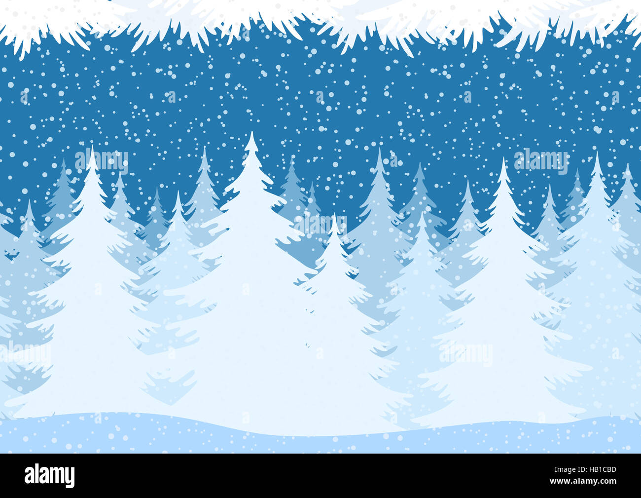 Seamless Christmas Forest Landscape - Stock Image