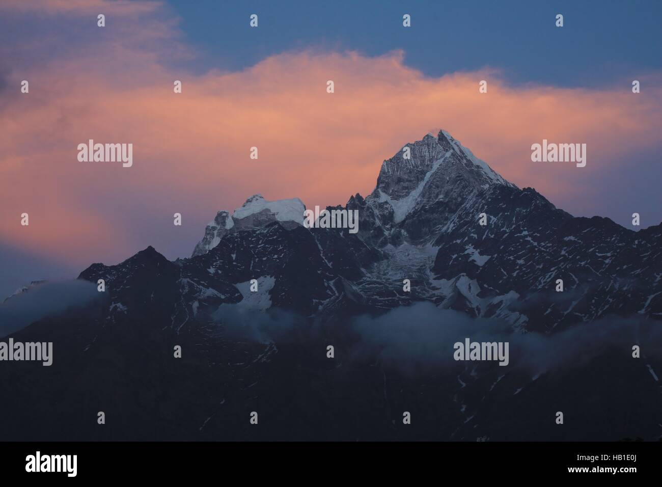 Nightfall in the Everest Region - Stock Image