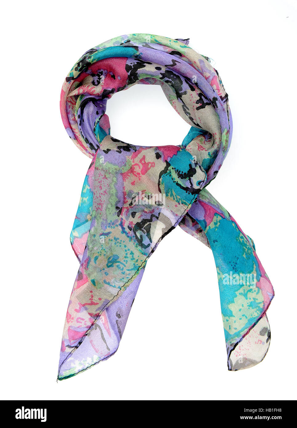 5ccefec47 Fashion accessories, Silk scarf, isolated on white background - Stock Image