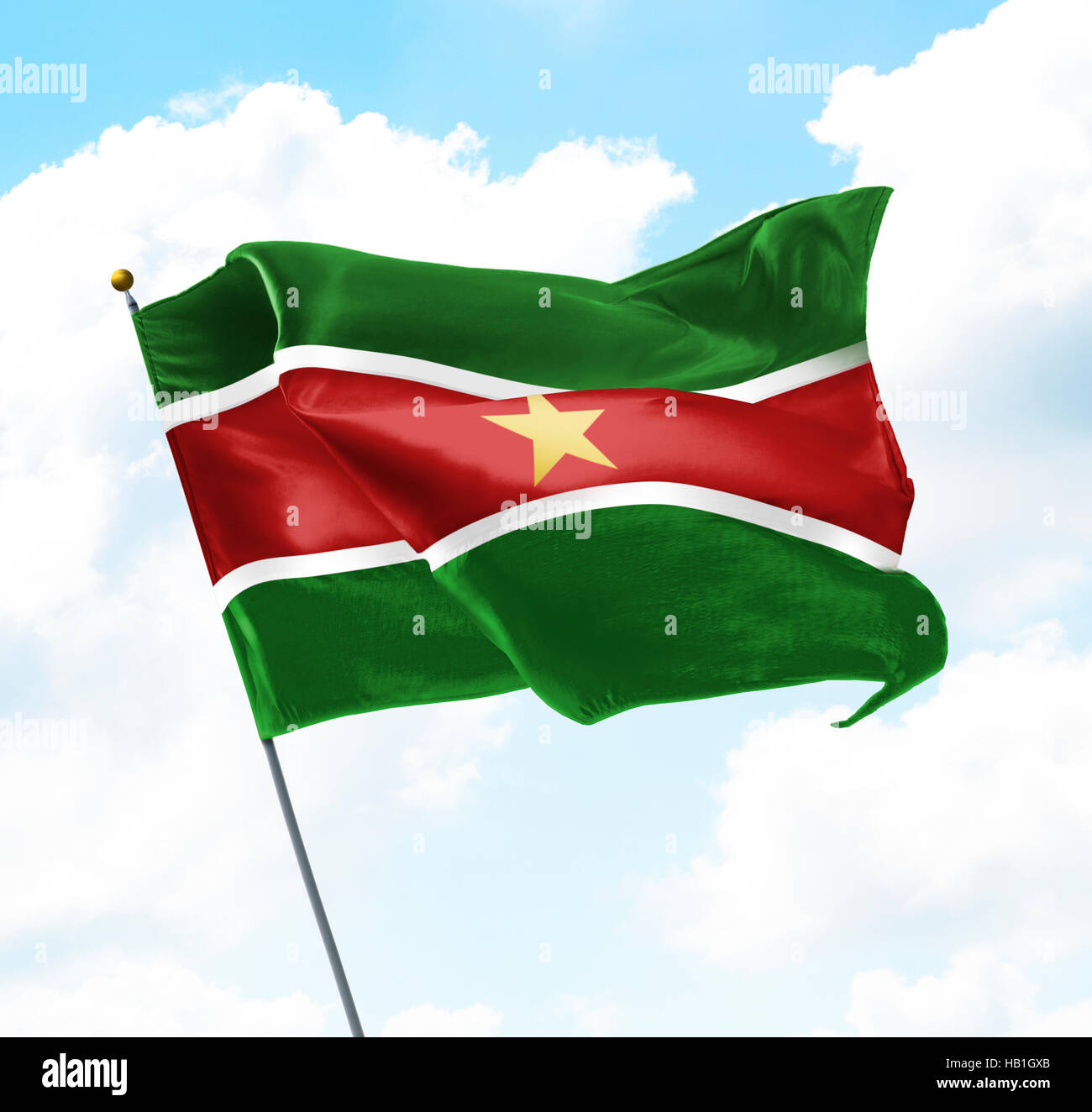Flag of Suriname Raised Up in The Sky - Stock Image