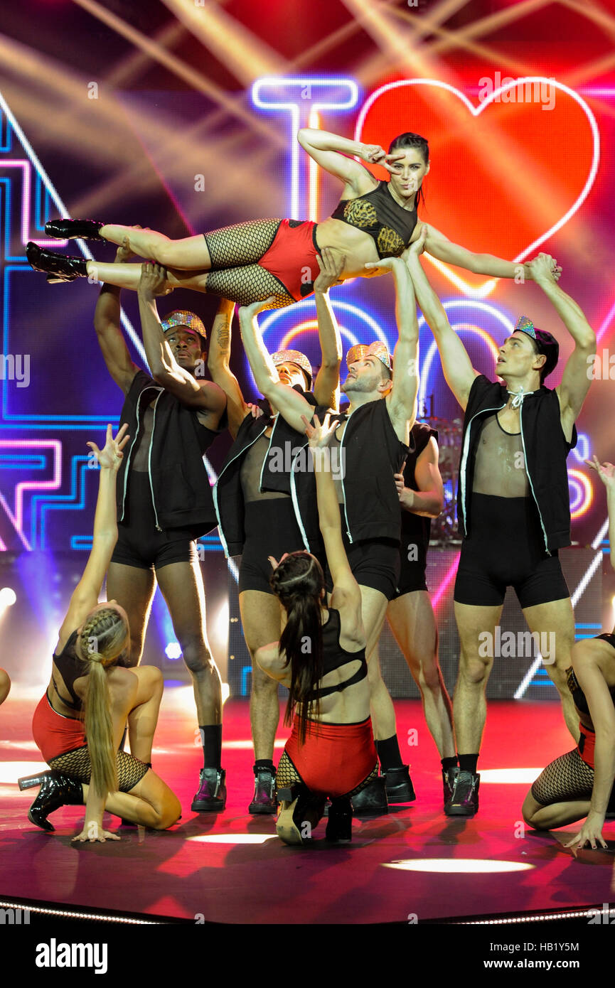 Dancers perform in the Rock The Runway themed Alcatel Fashion Theatre during the second day of The Clothes Show, Stock Photo