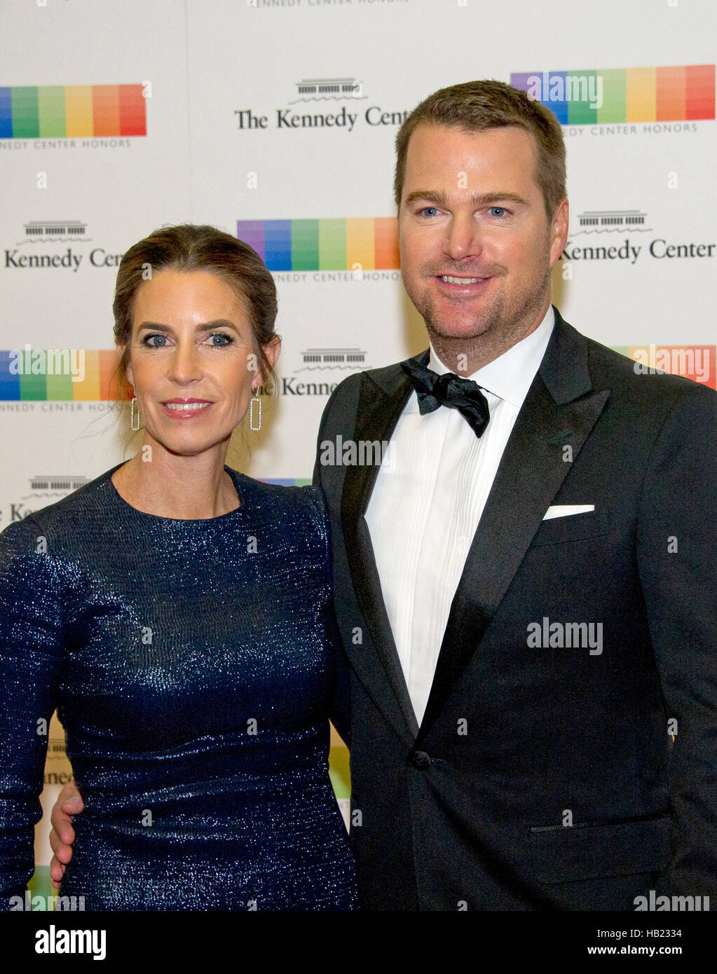Chris O'Donnell and his wife, Caroline Fentress, arrive for the formal Artist's Dinner honoring the recipients - Stock Image