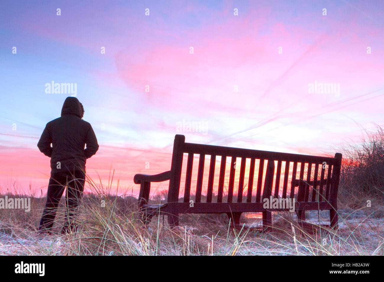 Southport, Merseyside, UK. 5th Dec, 2016.  After a cold & frosty night, a birdwatcher looks over the RSPB wetlands - Stock Image