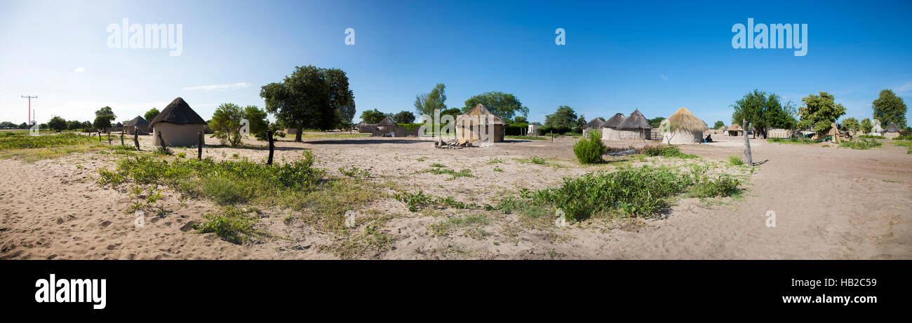 Traditional rural African Himba huts close to Caprivi Strip, Namibia - Stock Image