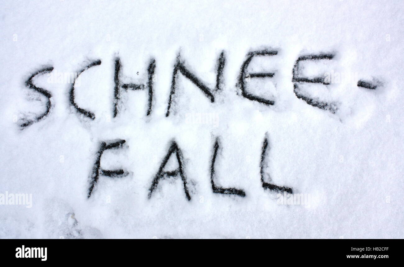 written in snow, snowfall - Stock Image