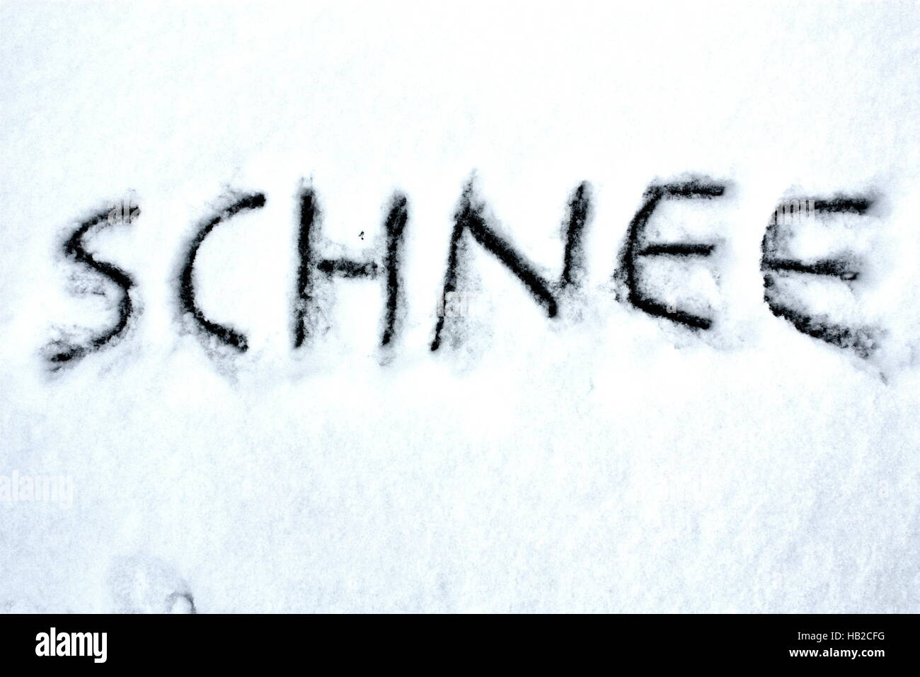 written in snow - Stock Image