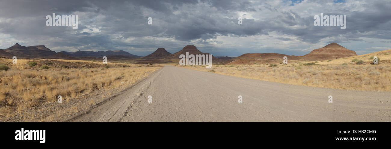 The D707, scenic dirt road in the desert through the Tiras mountains, Namibia - Stock Image