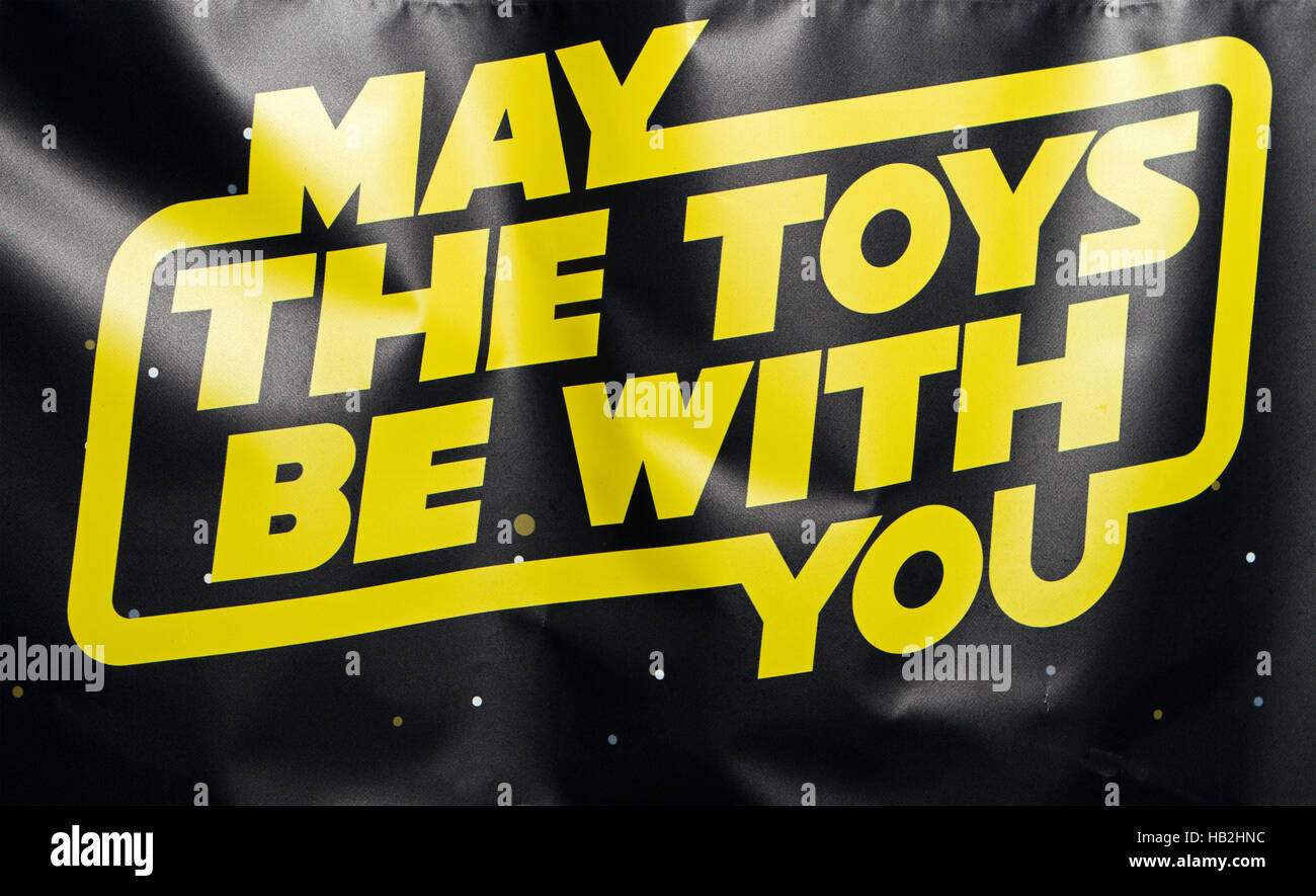 'May the toys me with you'  Star wars pun on Toy shop, Southport, Merseyside, UK - Stock Image