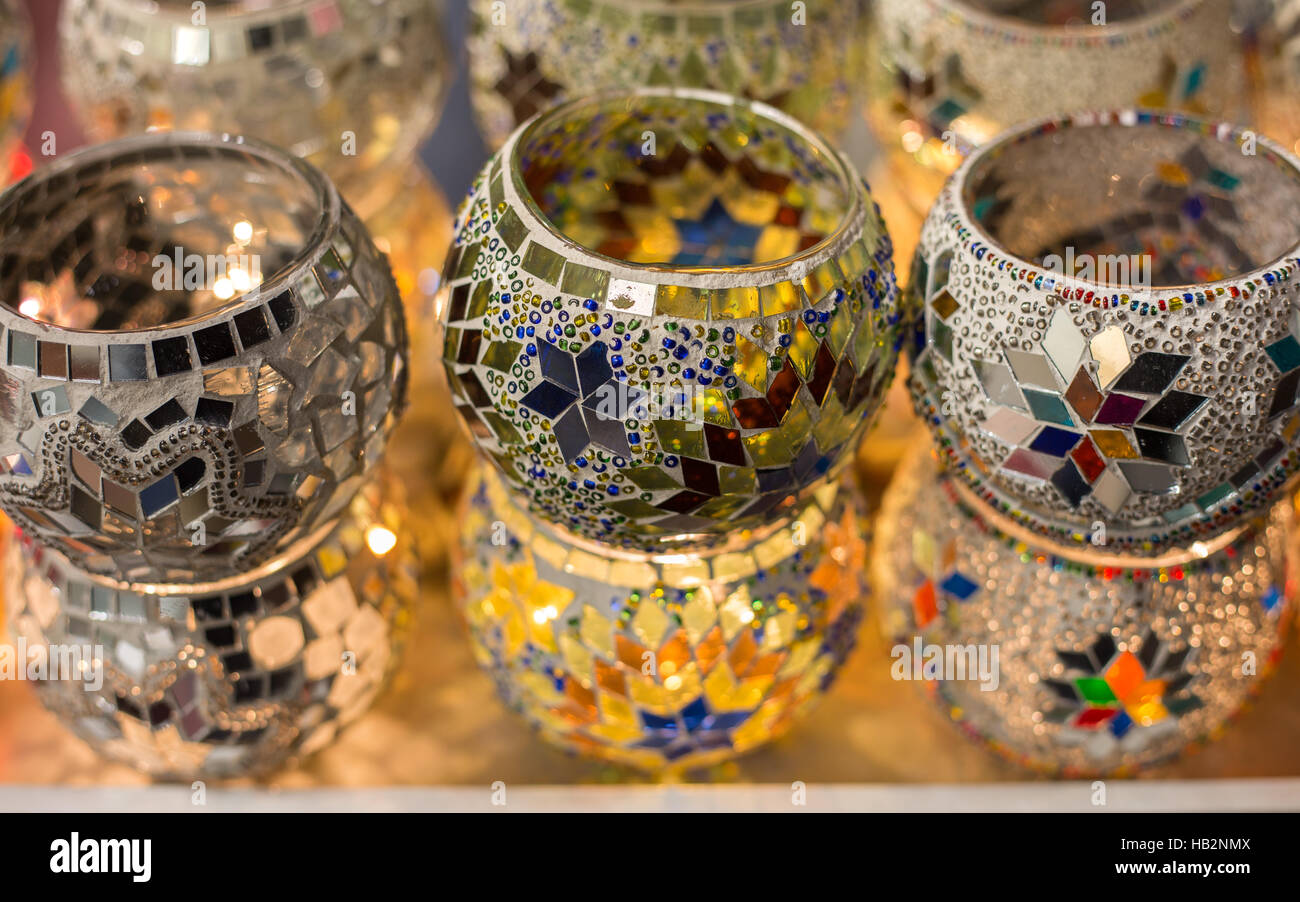 Handmade mosaic glass candle holders sold at Turkey, Istanbul, Grand Bazaar. - Stock Image