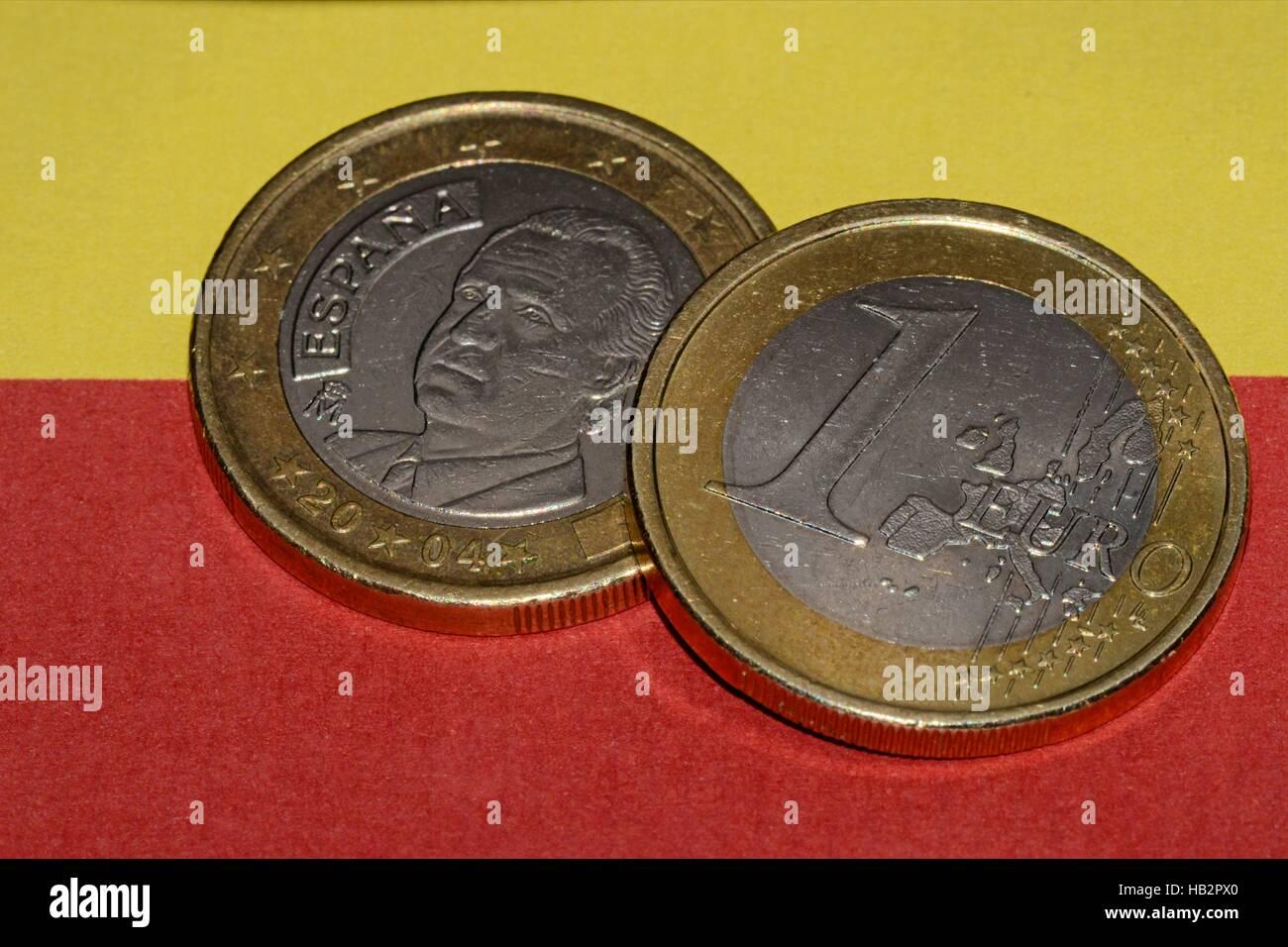 Spanisch Euro coins Stock Photo