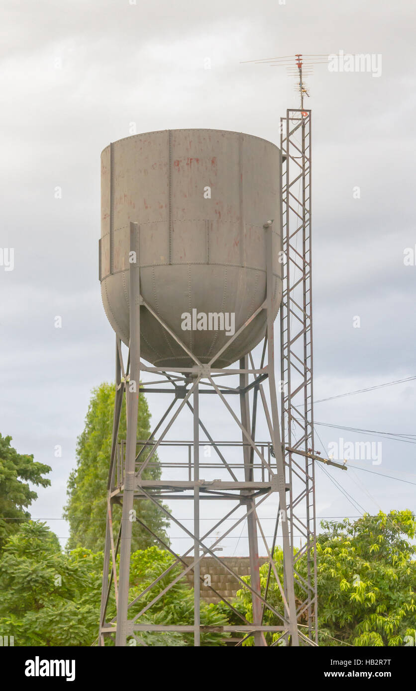 Water supply tank on background. - Stock Image