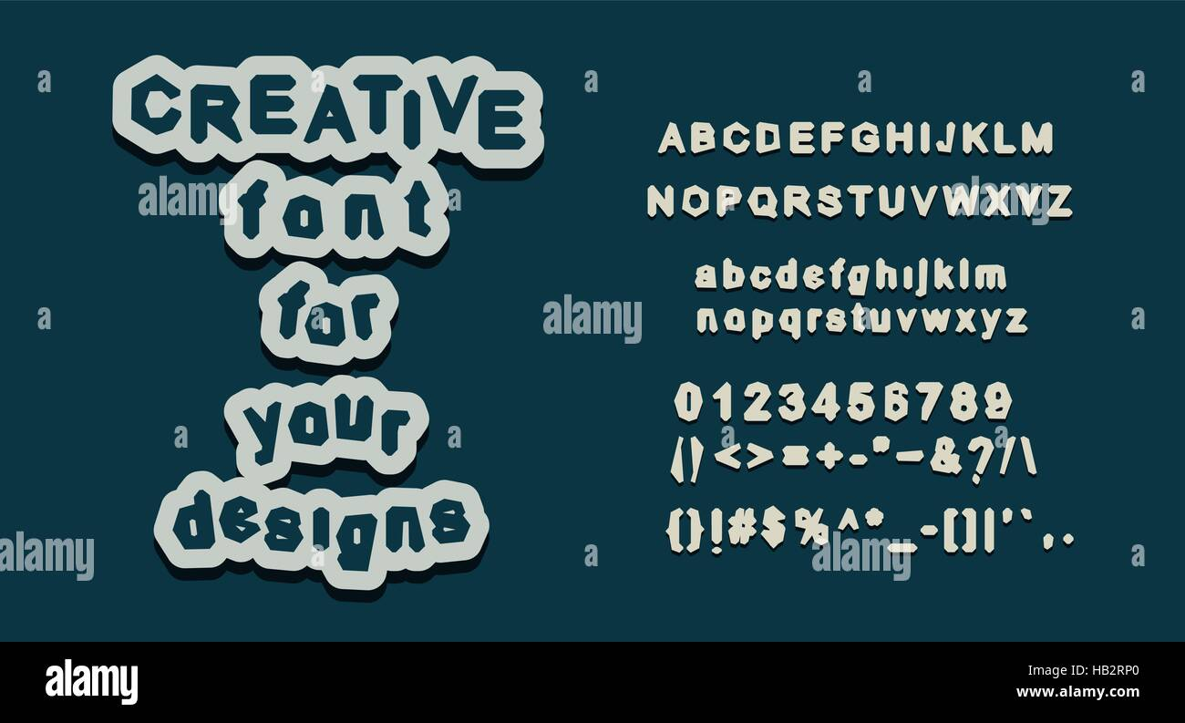 English Alphabet Letter Set Creative Font All Glyphs Uppercase And