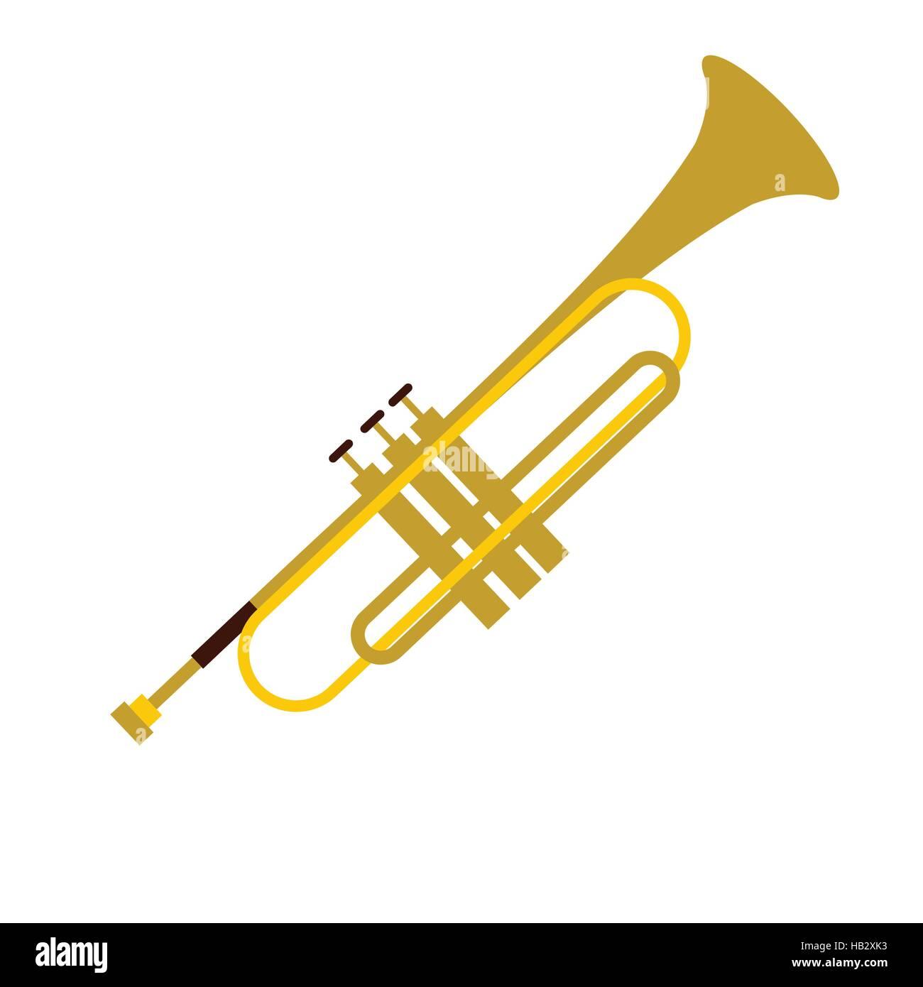 Trumpet simple flat icon Stock Vector Art & Illustration, Vector ...