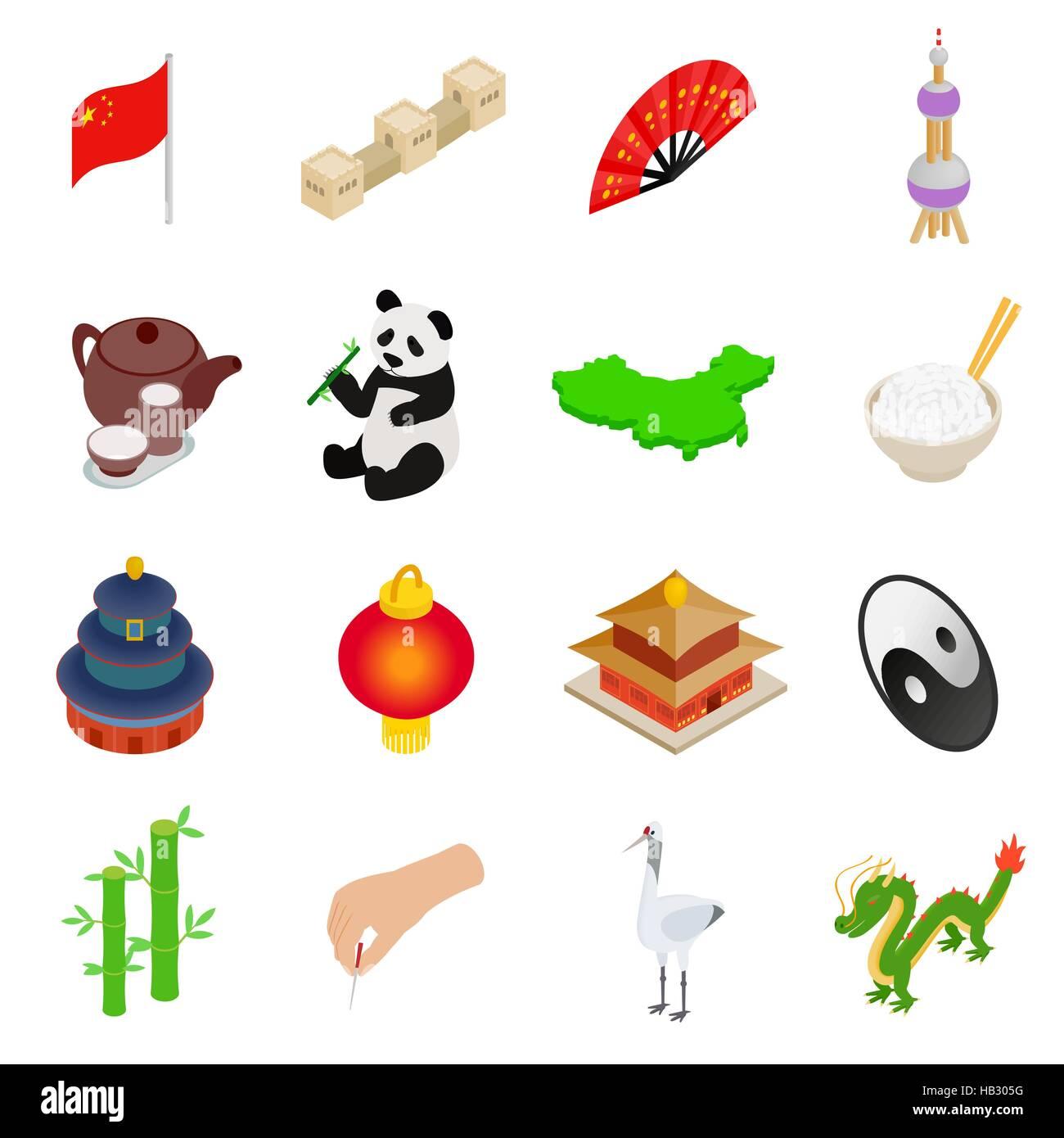 China isometric 3d icons - Stock Image