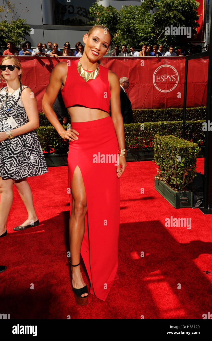 Track and field runner Lolo Jones arrives at the 2014 ESPY Awards at Nokia Theatre L.A. Live on July 16, 2014 in - Stock Image