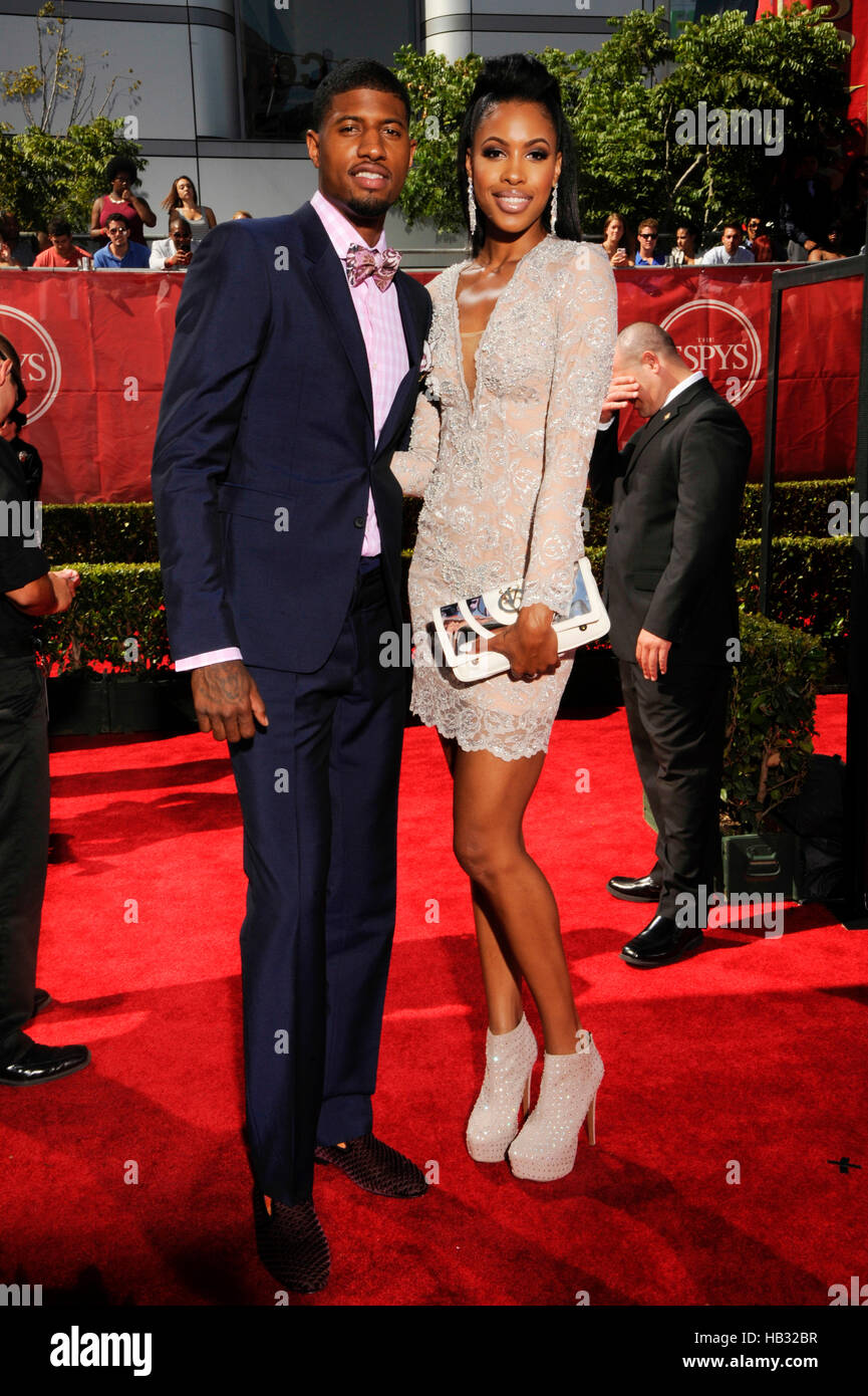 NBA star Paul George and Callie Rivers arrives at the 2014 ...