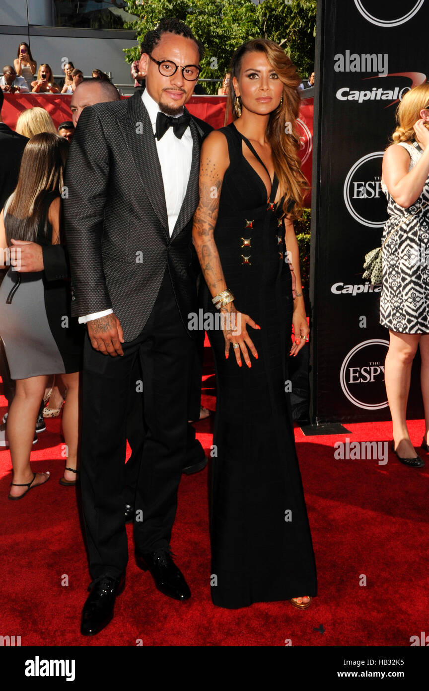 Jermaine Jones (l) and Sarah Gerth Jones arrives at the 2014 ESPY Awards at Nokia Theatre L.A. Live on July 16, - Stock Image