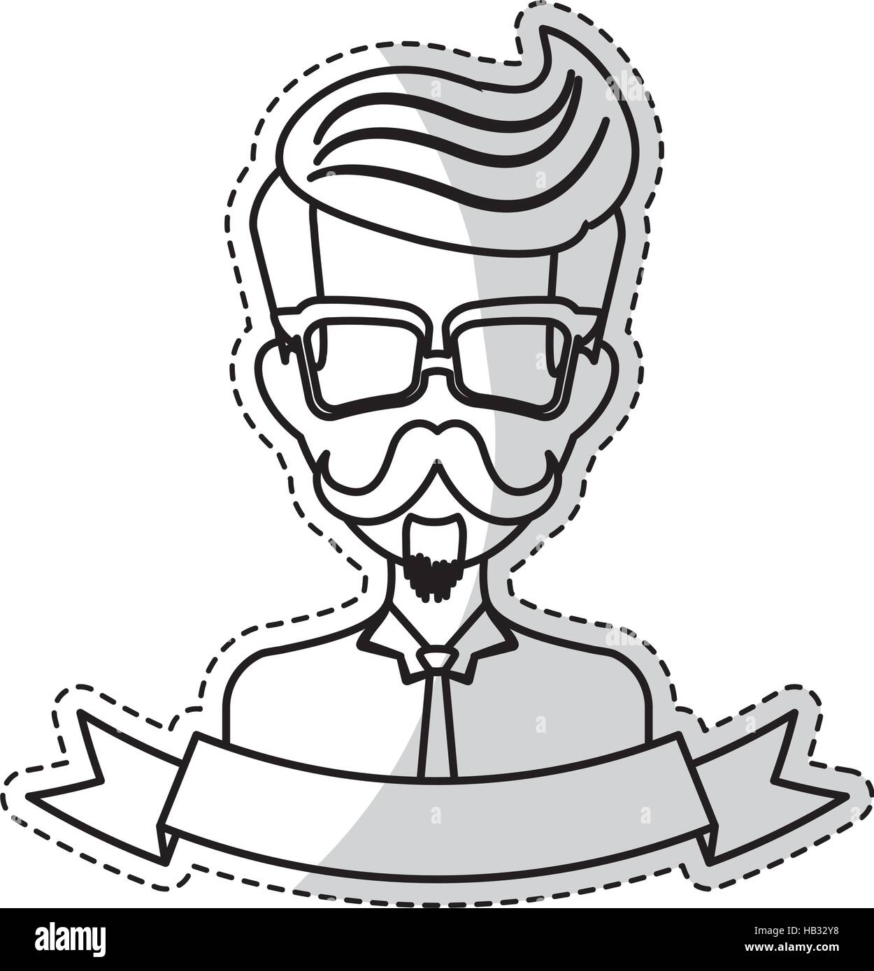 Sticker of man face with mustache and glasses and decorative ribbon over white background hispter style concept vector illustration