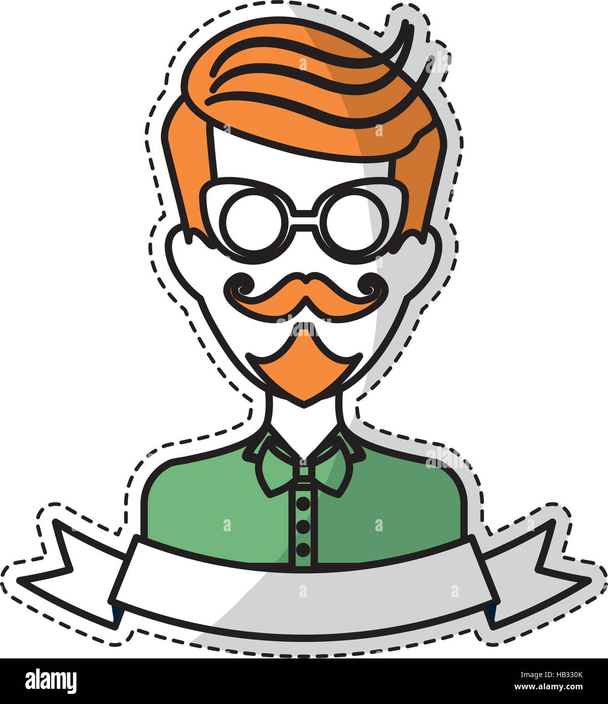 Sticker of man face with mustache and glasses and decorative ribbon over white background hispter style concept colorful design vector illustration