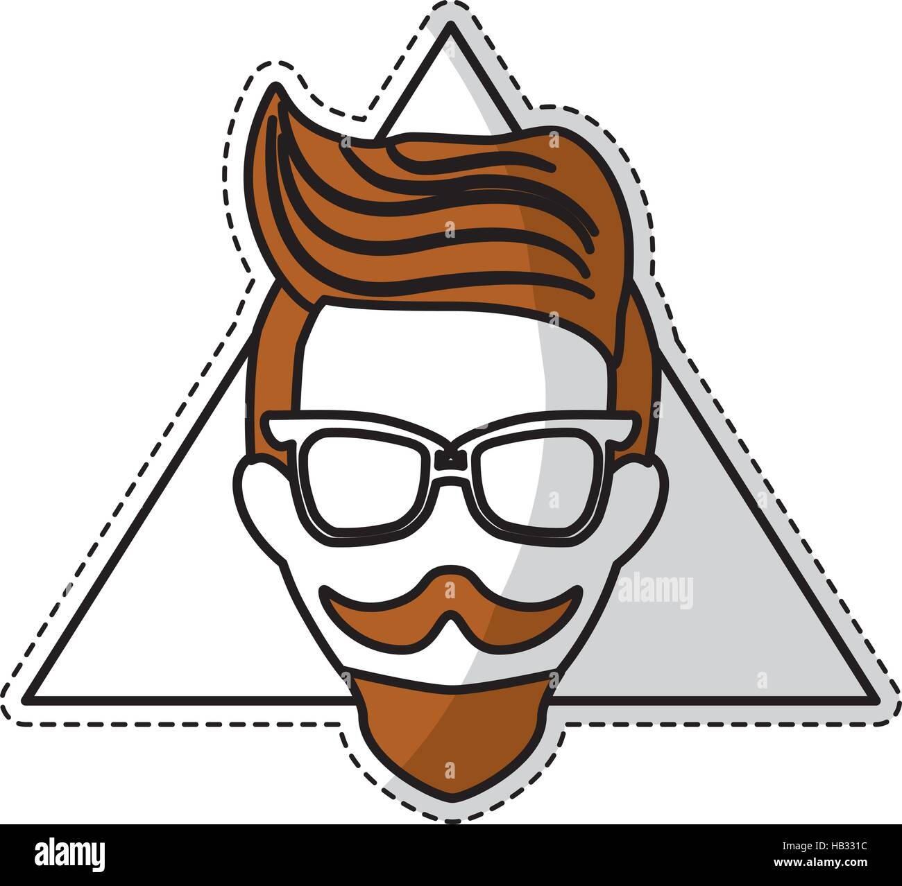 Sticker of man face with mustache and glasses over triangular frame and white background hispter style concept colorful design vector illustration