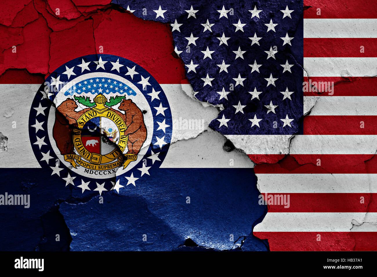 Flags Of Missouri And Usa Painted Oned Wall Stock Image