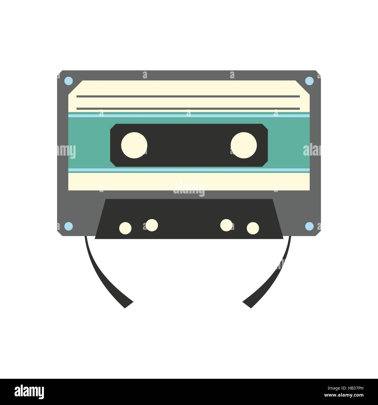 Audio compact cassette flat icon - Stock Image
