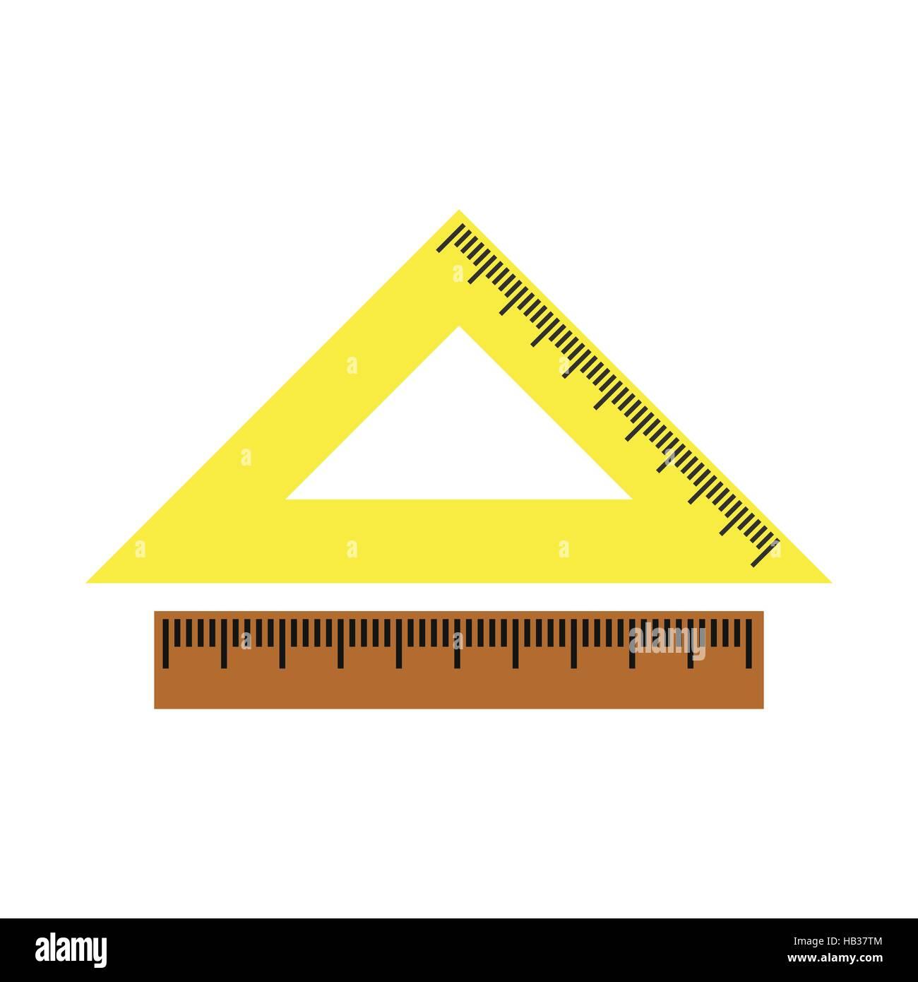 2 school rulers flat icon - Stock Vector