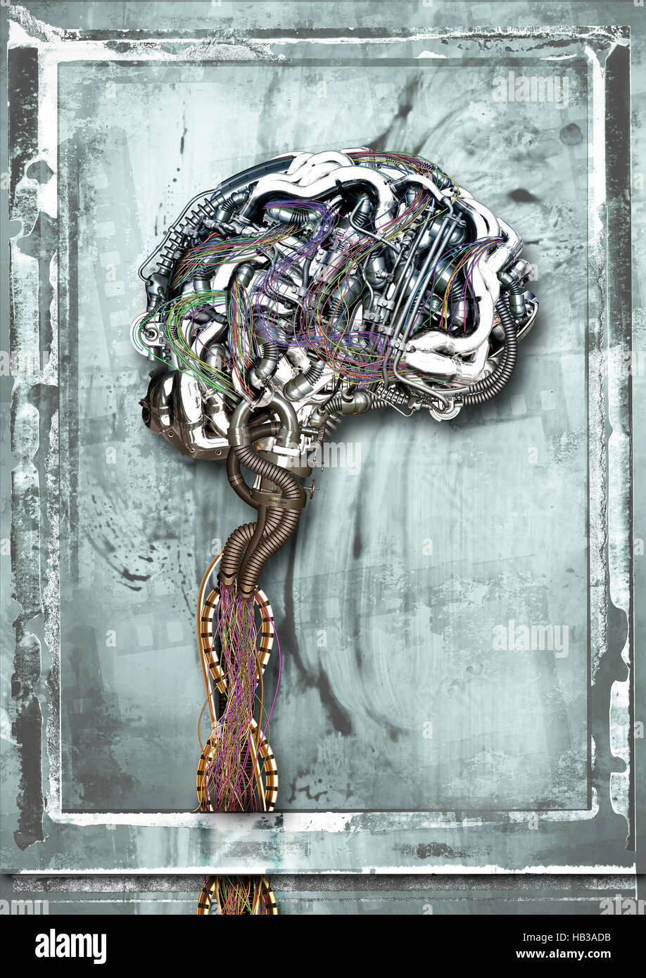 wired brain - Stock Image
