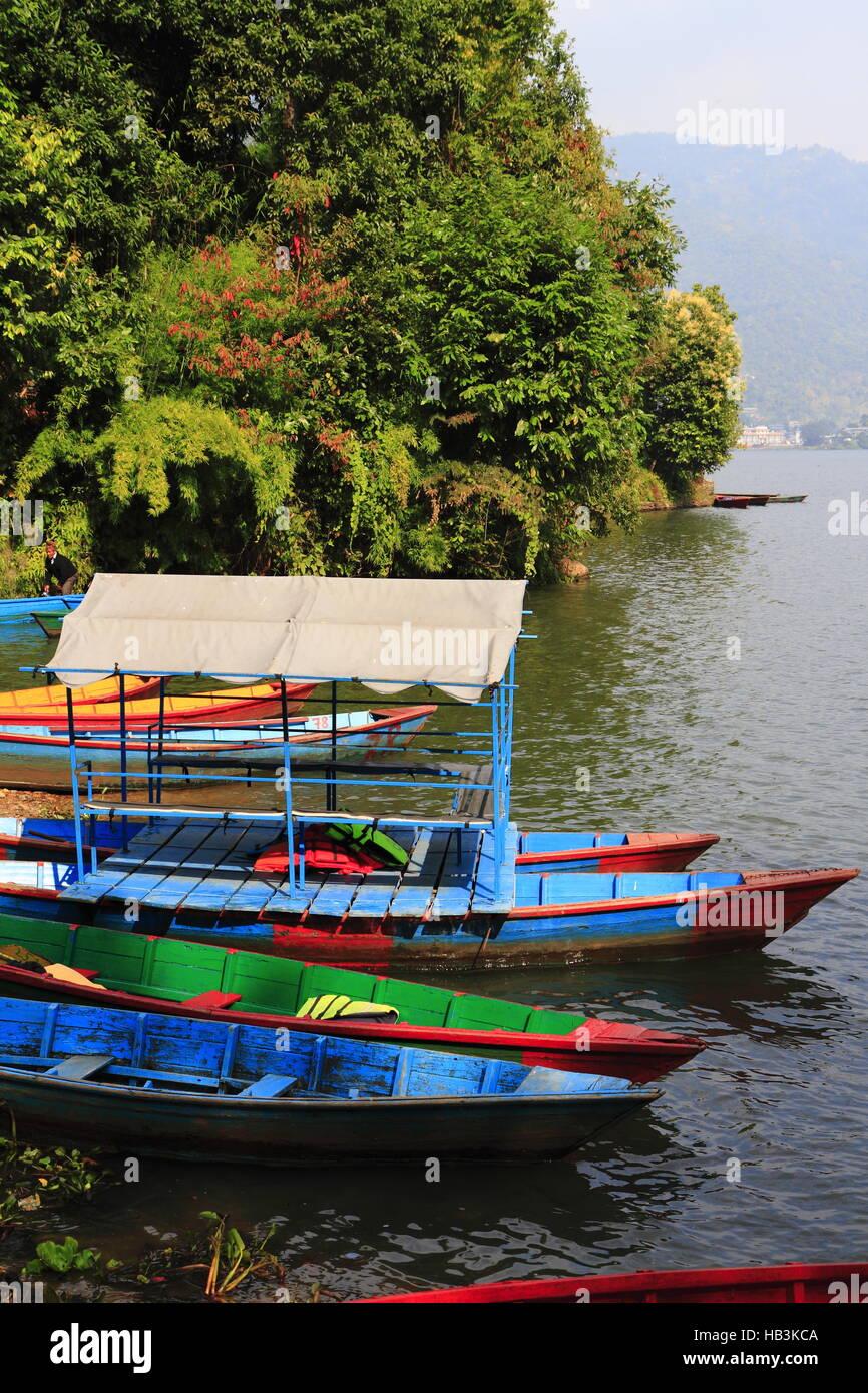 Rowboats at the Phewa lake - Stock Image