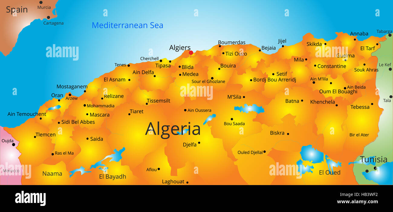 map of Algeria country Stock Photo 127319670 Alamy