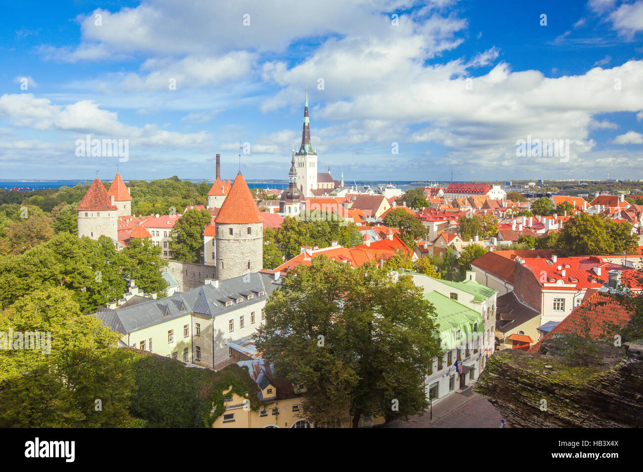 Scenic summer aerial panorama of Tallinn - Stock Image