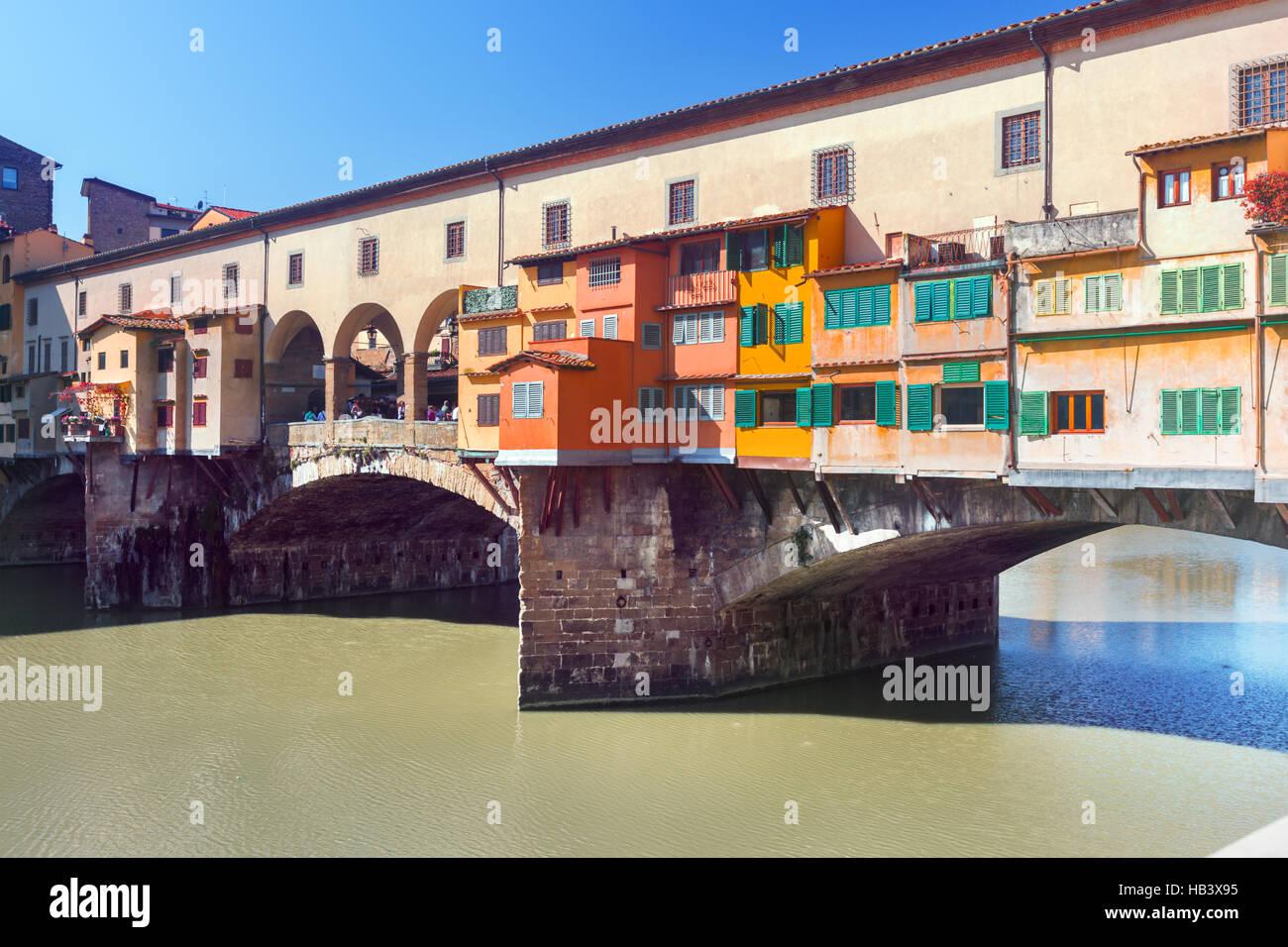 Ponte Vecchio over Arno river in Florence - Stock Image