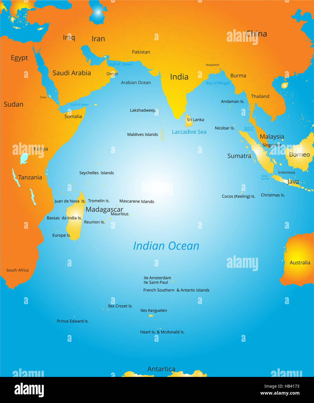 map of indian ocean region stock photo 127322583 alamy