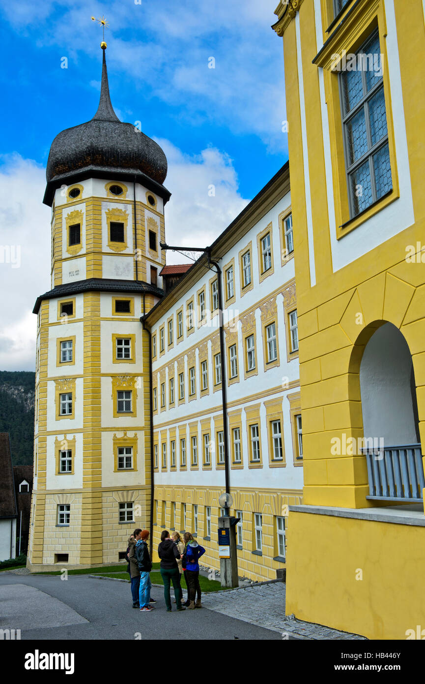 Students of the church-based Edith-Stein-College in front of the Princes' Wing, Stams Abbey, Stift Stams, Tyrol, - Stock Image