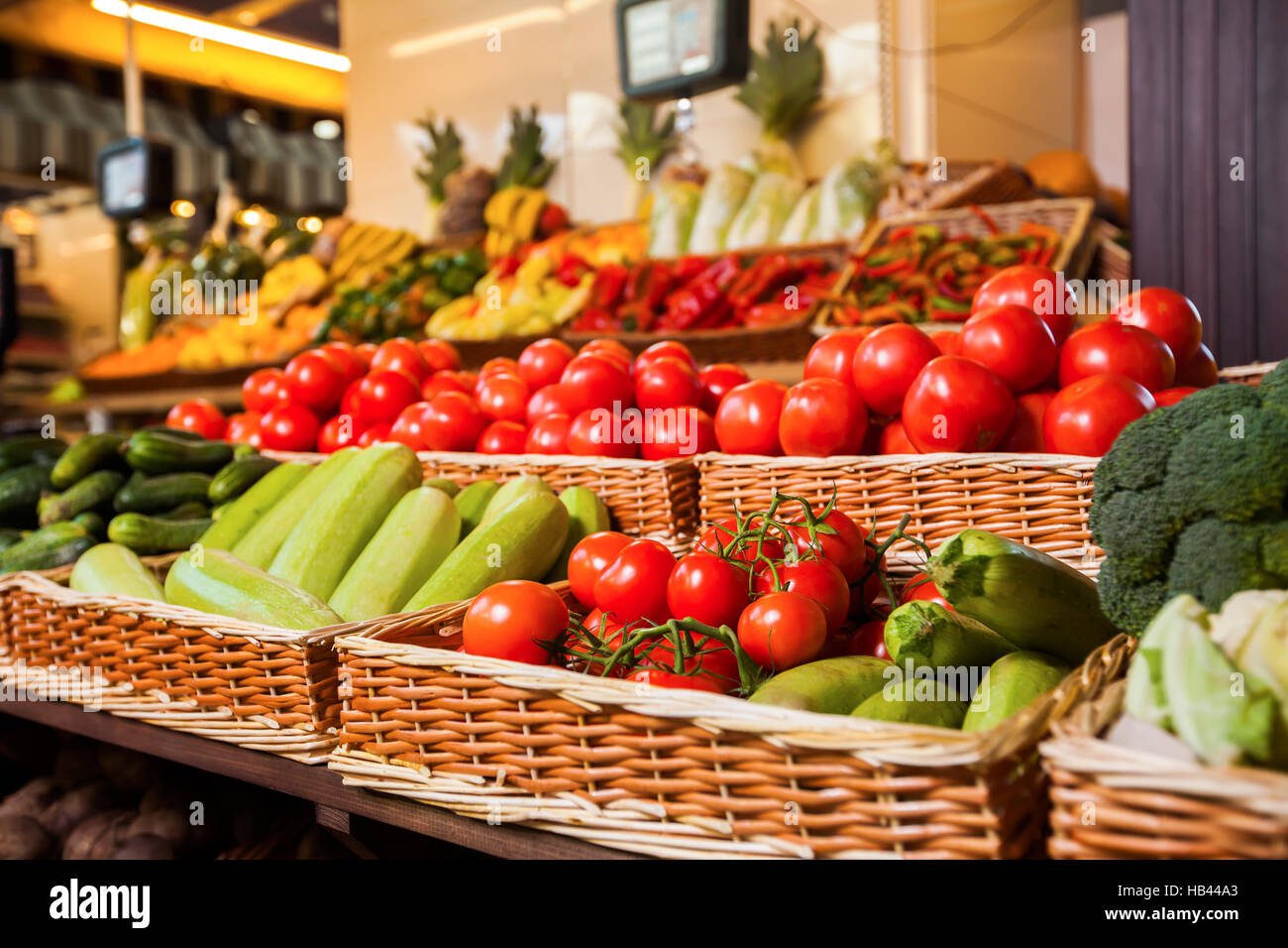 Greengrocery with fresh fruits and vegetables. - Stock Image
