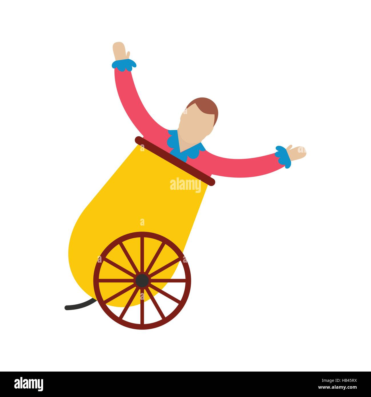 Circus man in cannon icon - Stock Image