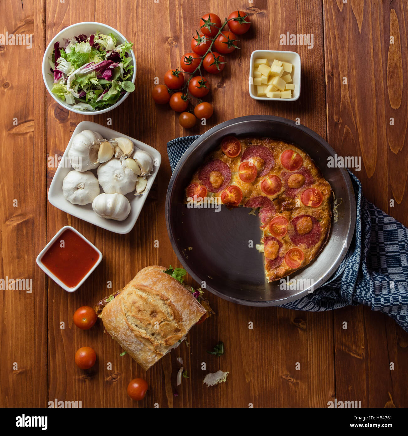 breakfast table with frittata - Stock Image