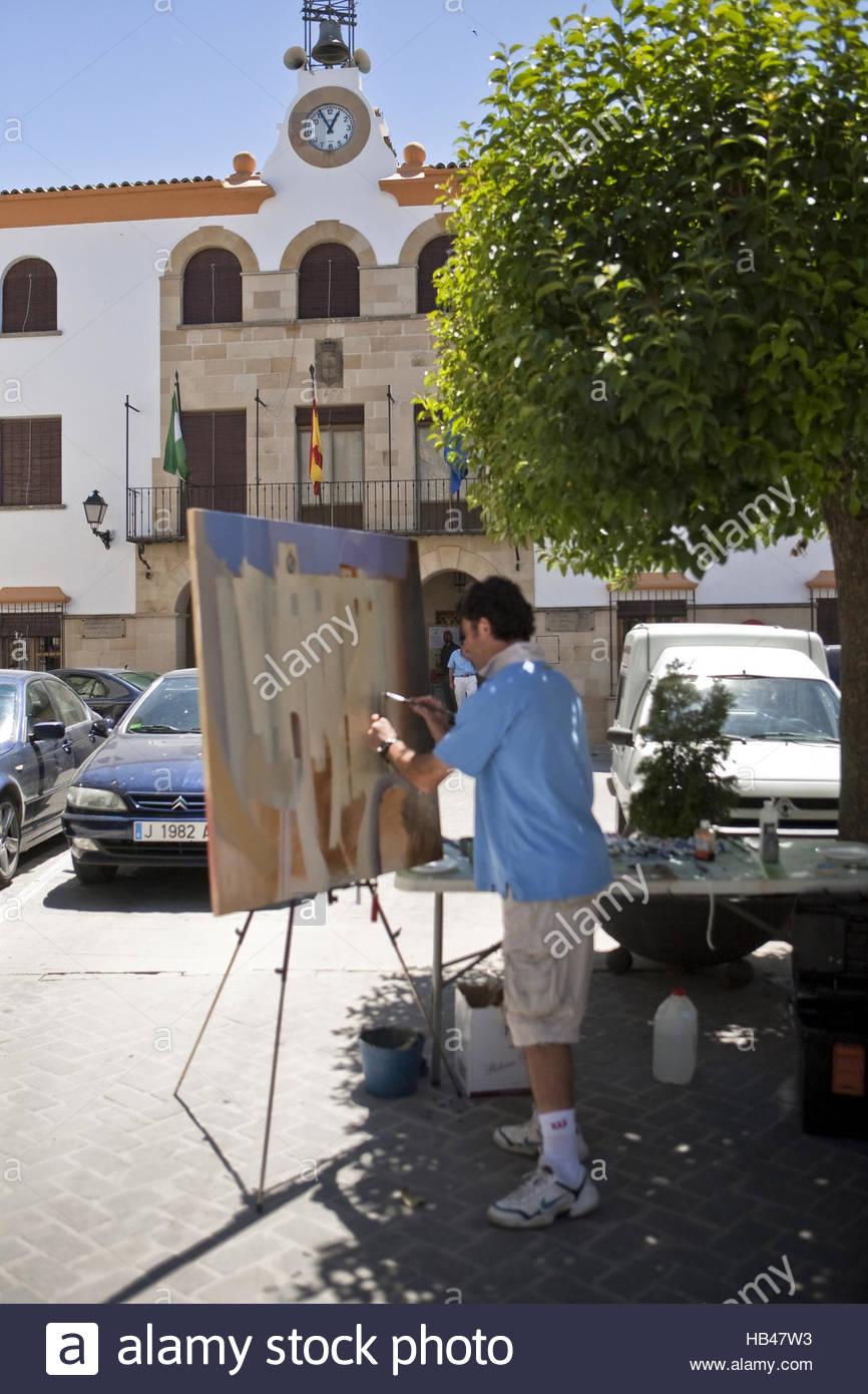 Painter in Sabiote, Jaen, Spain - Stock Image