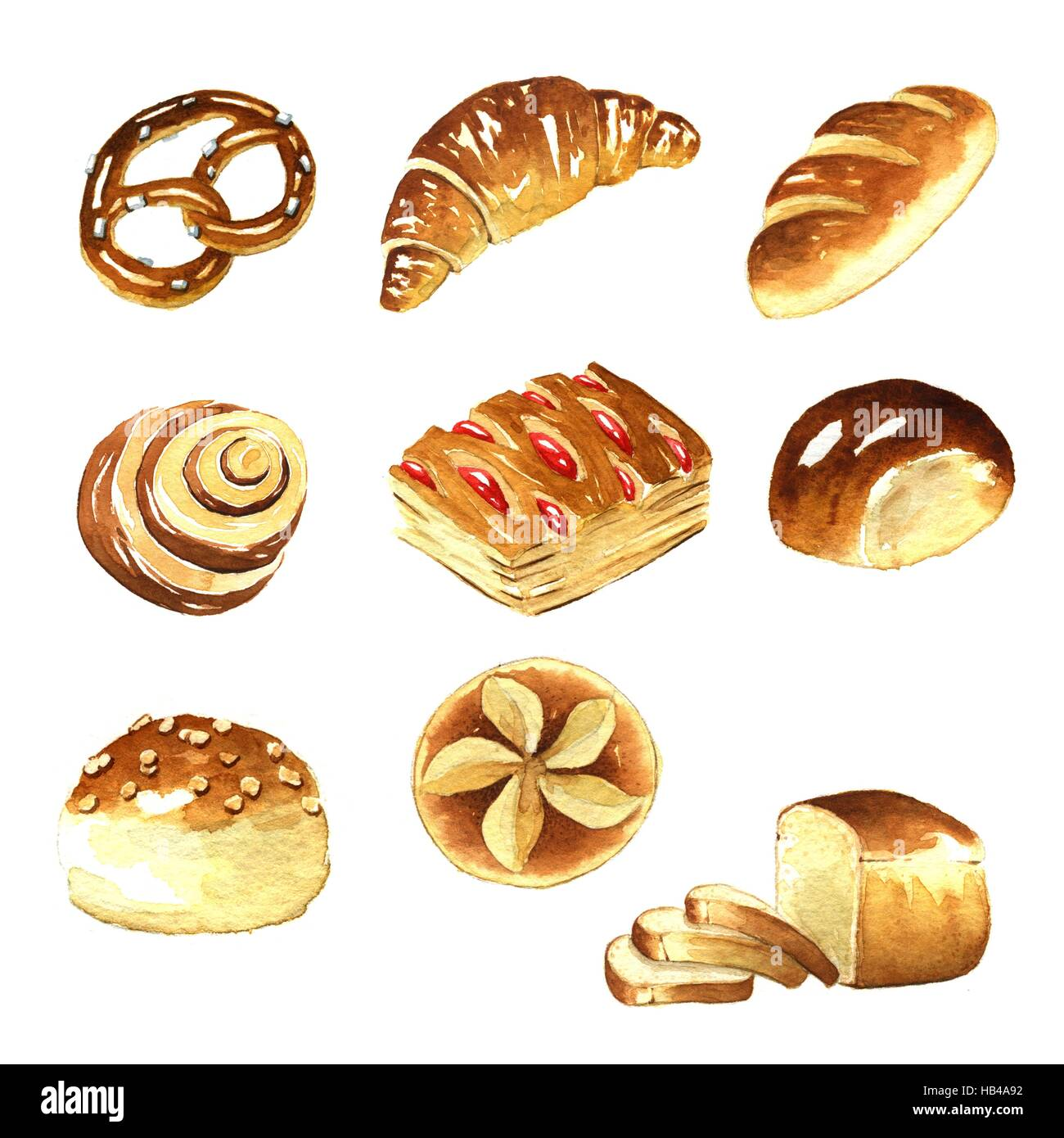 Watercolor Bread High Resolution Stock Photography And Images Alamy