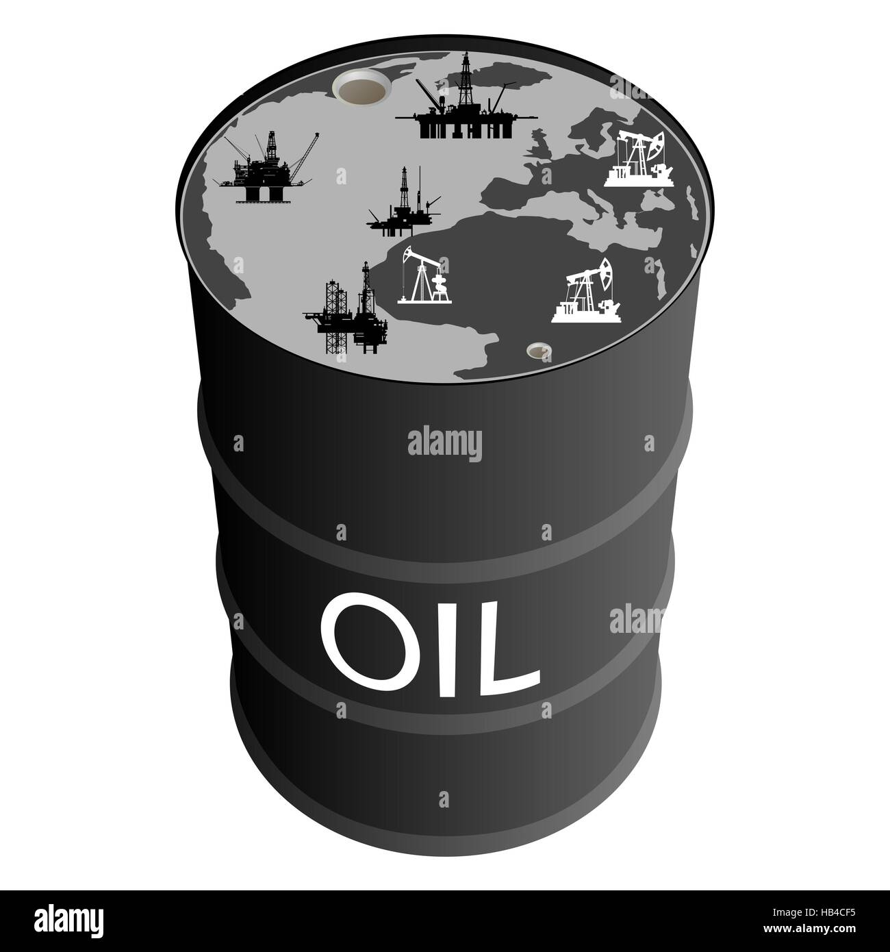 Barrel of oil products abstract world map and oil production stock barrel of oil products abstract world map and oil production platforms the illustration on white background gumiabroncs Choice Image