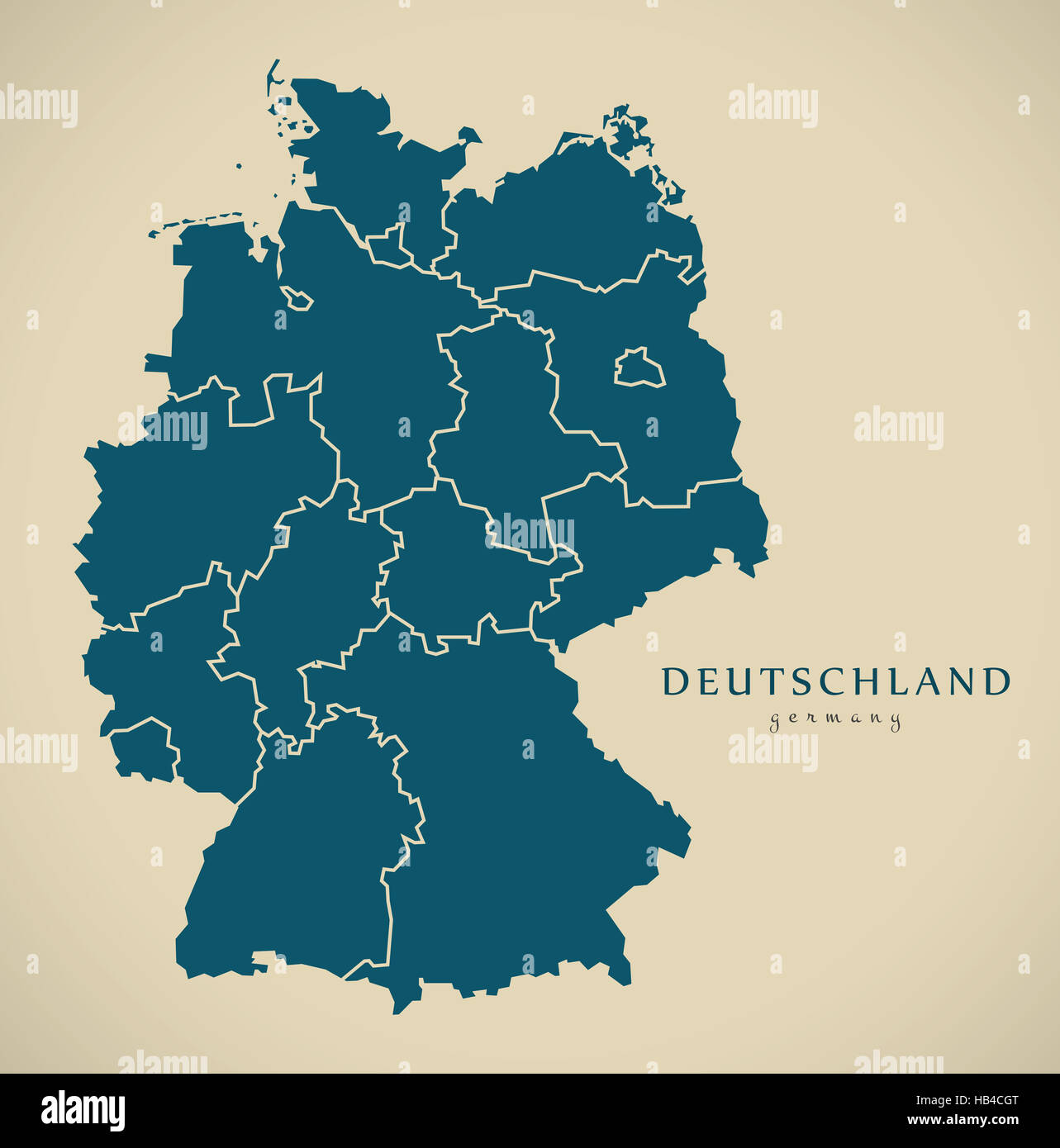 modern map germany with federal states de illustration stock image