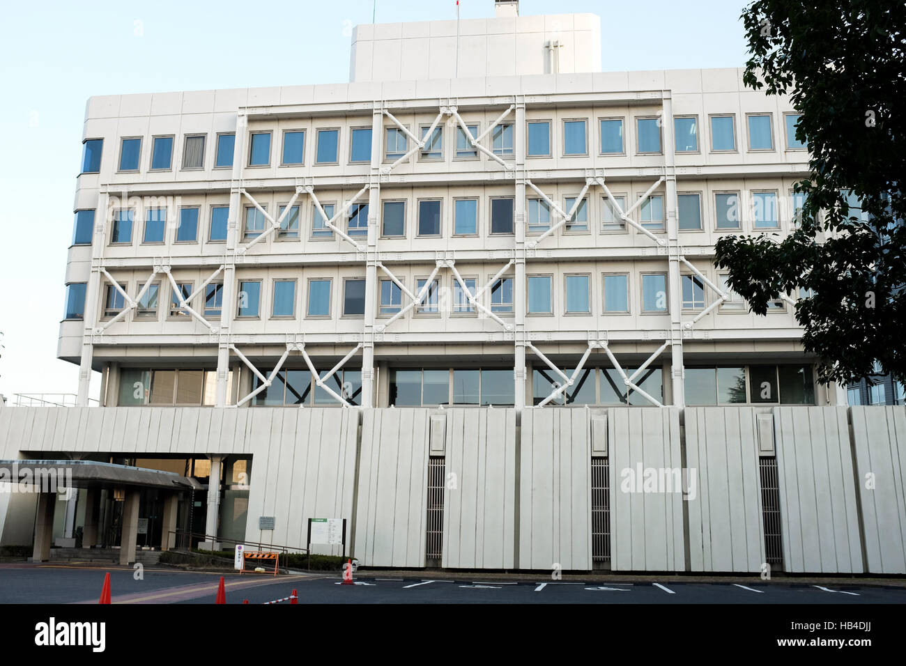 A building in Japan with external reinforcements to help protect it from the effects of earthquakes. - Stock Image