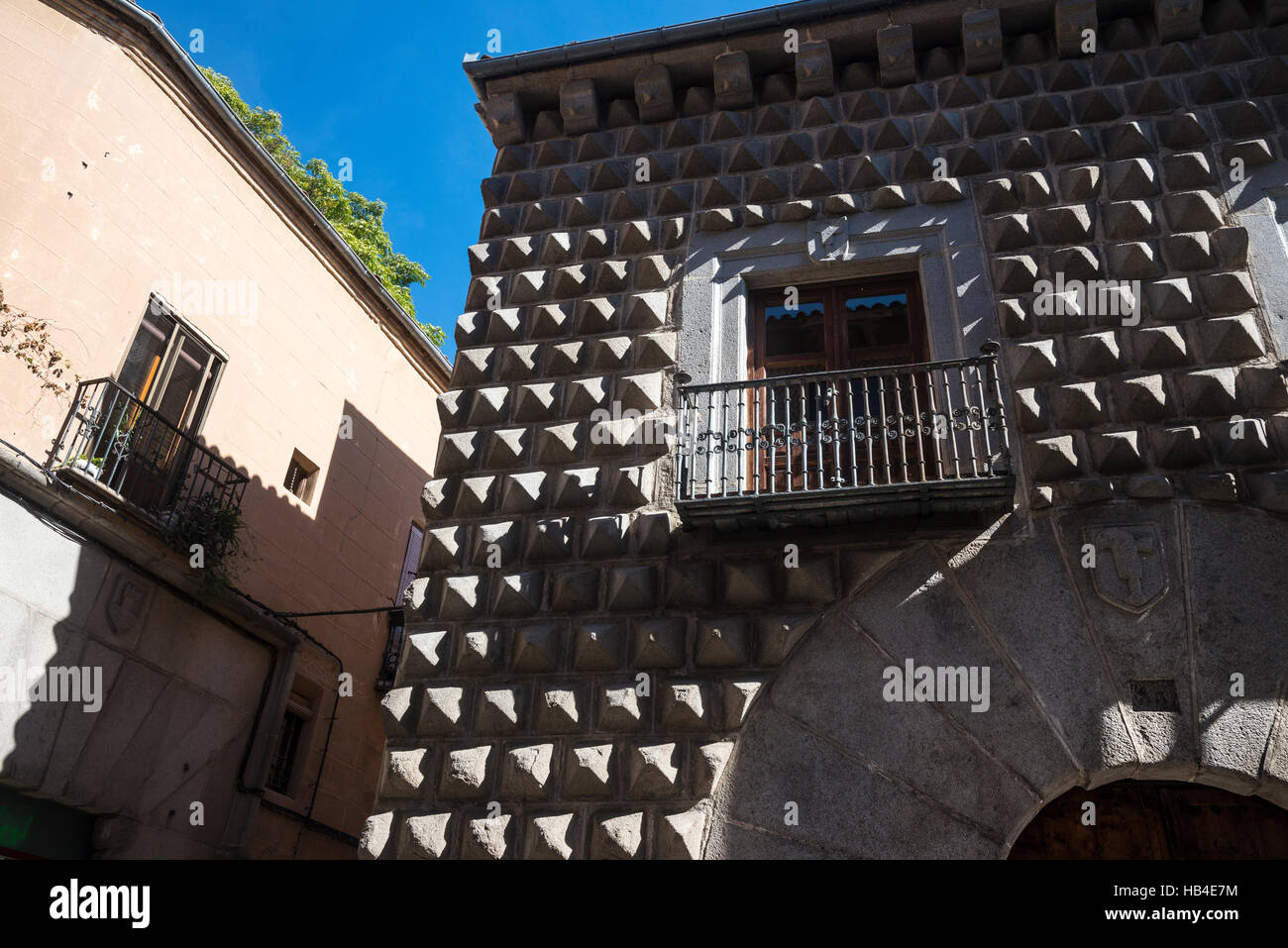 The 15th Cen. Casa De Los Picos in the city of Segovia, Spain - Stock Image