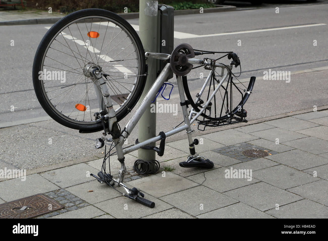Theft of property and parts of a bicycle - Stock Image